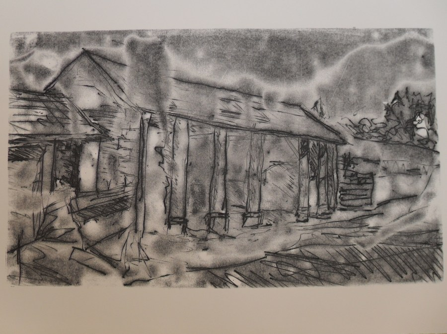 Trace Monotype: Barn at Home Farm