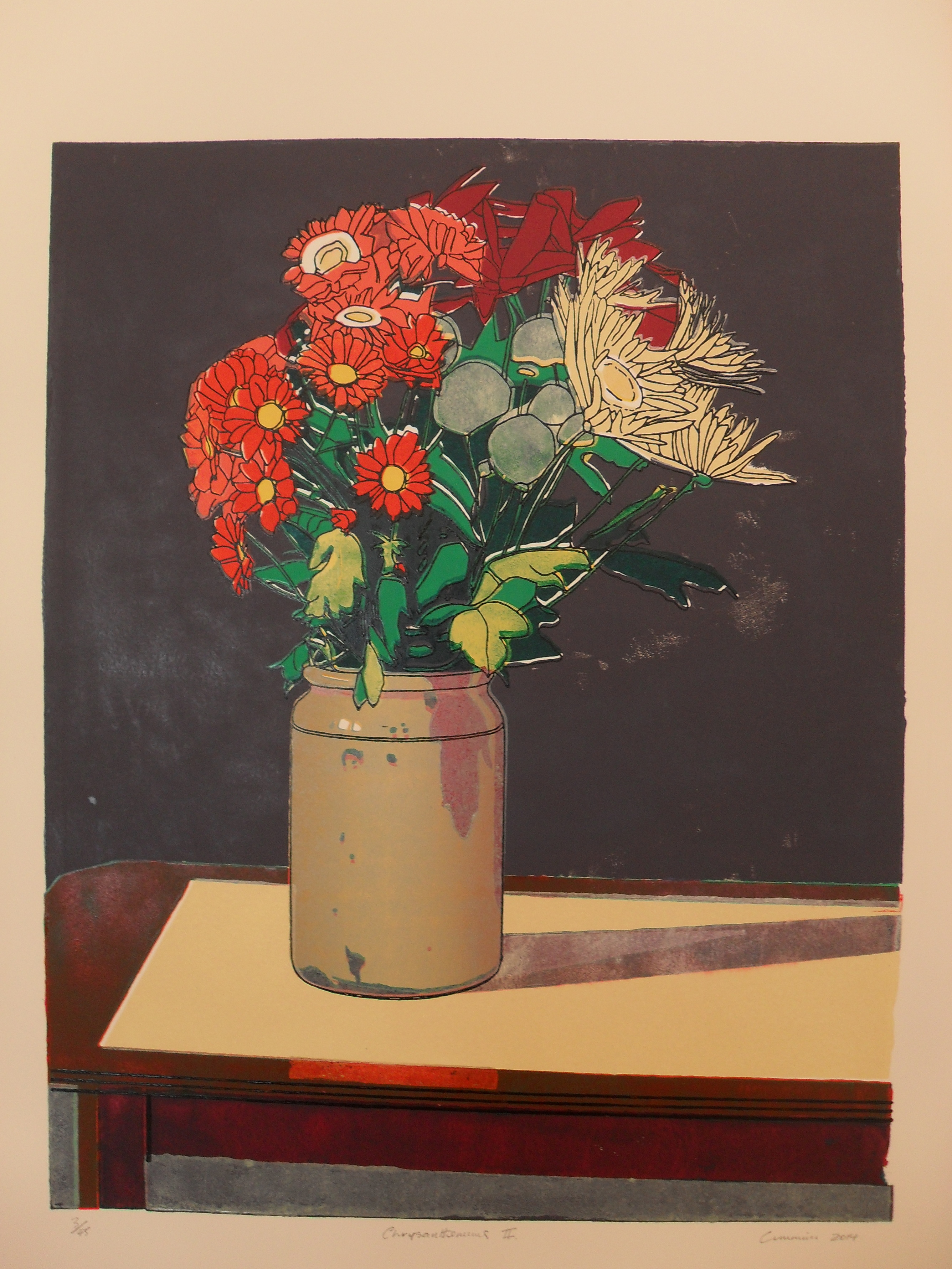 Chrysanthemums II: Colour Linocut 2014 58x46cm Edition of Forty-Five