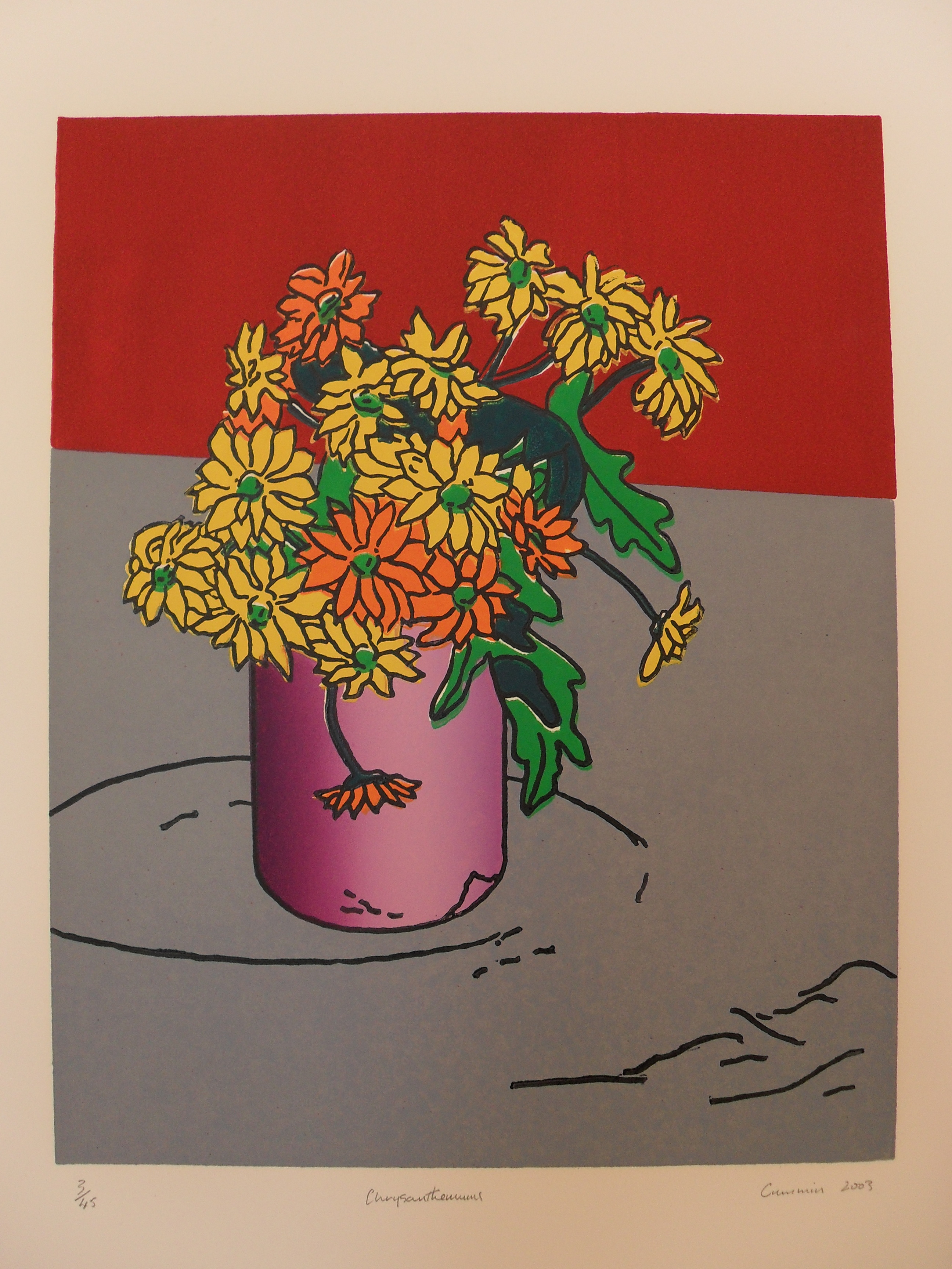 Chrysanthemums: Colour Linocut 2003 38x30cm Edition of Forty-Five