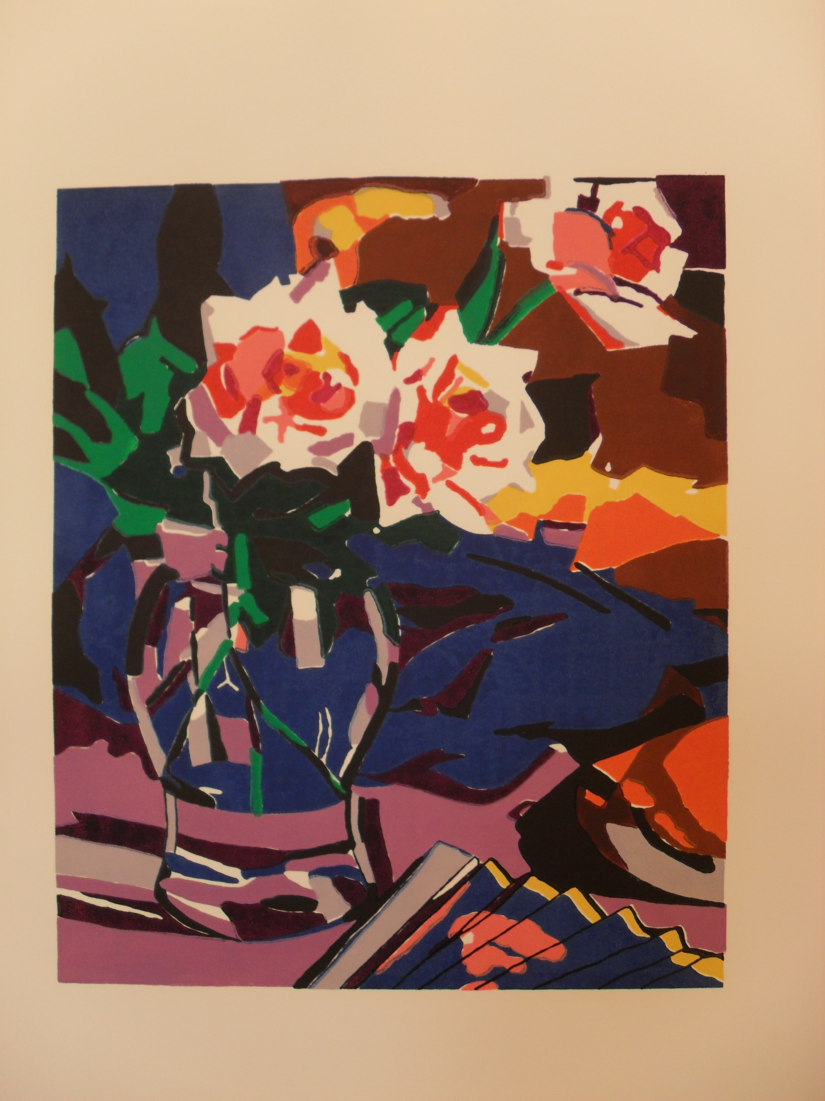 Pink Roses: Colour Linocut 2004 46x38cm Edition of Forty-Five